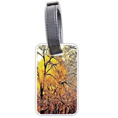 Summer Sun Set Fractal Forest Background Luggage Tags (one Side)