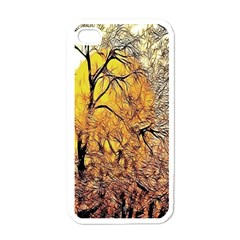 Summer Sun Set Fractal Forest Background Apple iPhone 4 Case (White)