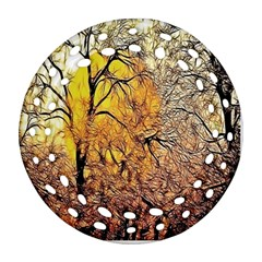 Summer Sun Set Fractal Forest Background Round Filigree Ornament (Two Sides)