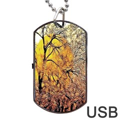 Summer Sun Set Fractal Forest Background Dog Tag USB Flash (Two Sides)