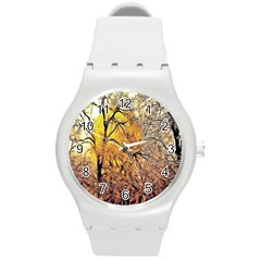 Summer Sun Set Fractal Forest Background Round Plastic Sport Watch (m)