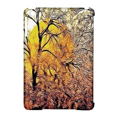 Summer Sun Set Fractal Forest Background Apple iPad Mini Hardshell Case (Compatible with Smart Cover)
