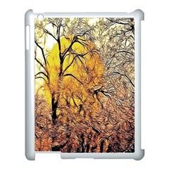 Summer Sun Set Fractal Forest Background Apple iPad 3/4 Case (White)