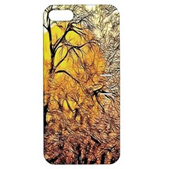 Summer Sun Set Fractal Forest Background Apple Iphone 5 Hardshell Case With Stand