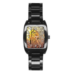 Summer Sun Set Fractal Forest Background Stainless Steel Barrel Watch