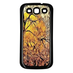 Summer Sun Set Fractal Forest Background Samsung Galaxy S3 Back Case (Black)
