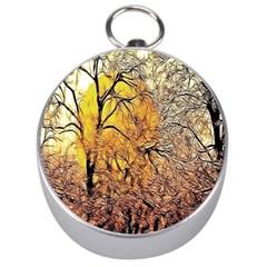 Summer Sun Set Fractal Forest Background Silver Compasses