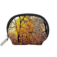 Summer Sun Set Fractal Forest Background Accessory Pouches (Small)