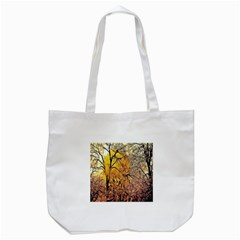 Summer Sun Set Fractal Forest Background Tote Bag (white)