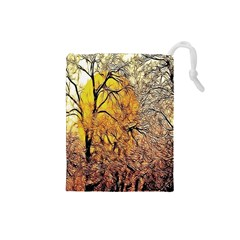 Summer Sun Set Fractal Forest Background Drawstring Pouches (small)
