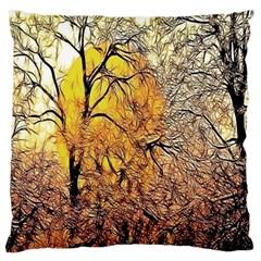 Summer Sun Set Fractal Forest Background Large Flano Cushion Case (two Sides)