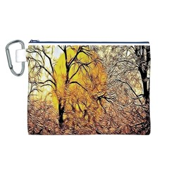 Summer Sun Set Fractal Forest Background Canvas Cosmetic Bag (L)