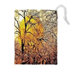 Summer Sun Set Fractal Forest Background Drawstring Pouches (Extra Large)