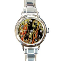 Artistic Effect Fractal Forest Background Round Italian Charm Watch