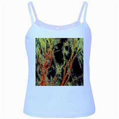 Artistic Effect Fractal Forest Background Baby Blue Spaghetti Tank