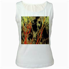 Artistic Effect Fractal Forest Background Women s White Tank Top