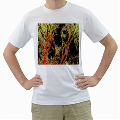 Artistic Effect Fractal Forest Background Men s T Shirt (white) (two Sided)
