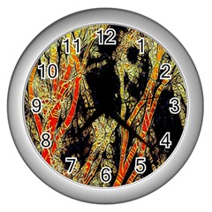 Artistic Effect Fractal Forest Background Wall Clocks (silver)