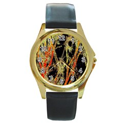 Artistic Effect Fractal Forest Background Round Gold Metal Watch