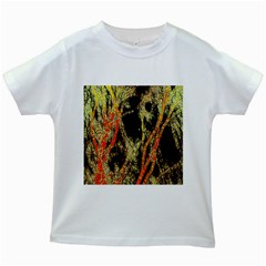 Artistic Effect Fractal Forest Background Kids White T Shirts