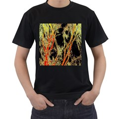 Artistic Effect Fractal Forest Background Men s T Shirt (black) (two Sided)