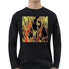 Artistic Effect Fractal Forest Background Long Sleeve Dark T Shirts