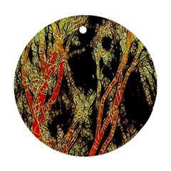 Artistic Effect Fractal Forest Background Round Ornament (two Sides)