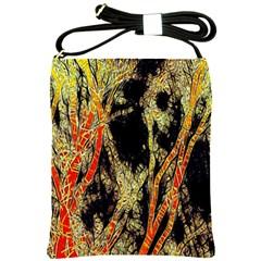 Artistic Effect Fractal Forest Background Shoulder Sling Bags