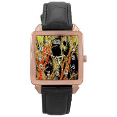 Artistic Effect Fractal Forest Background Rose Gold Leather Watch