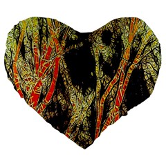 Artistic Effect Fractal Forest Background Large 19  Premium Flano Heart Shape Cushions