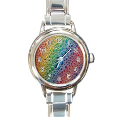 Bubbles Rainbow Colourful Colors Round Italian Charm Watch