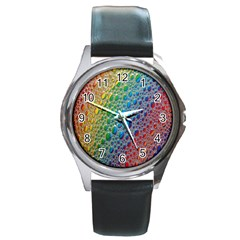 Bubbles Rainbow Colourful Colors Round Metal Watch