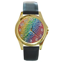 Bubbles Rainbow Colourful Colors Round Gold Metal Watch