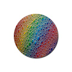 Bubbles Rainbow Colourful Colors Rubber Round Coaster (4 Pack)