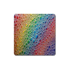 Bubbles Rainbow Colourful Colors Square Magnet