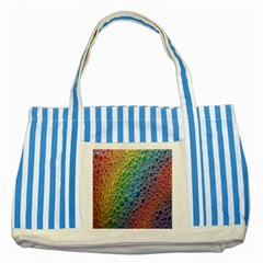 Bubbles Rainbow Colourful Colors Striped Blue Tote Bag