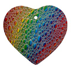 Bubbles Rainbow Colourful Colors Heart Ornament (two Sides)