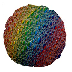 Bubbles Rainbow Colourful Colors Large 18  Premium Round Cushions