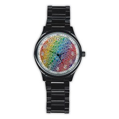 Bubbles Rainbow Colourful Colors Stainless Steel Round Watch