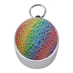 Bubbles Rainbow Colourful Colors Mini Silver Compasses