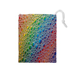Bubbles Rainbow Colourful Colors Drawstring Pouches (Medium)