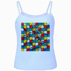 Snakes And Ladders Baby Blue Spaghetti Tank