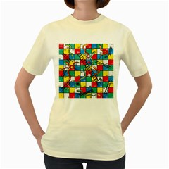 Snakes And Ladders Women s Yellow T-Shirt