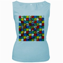 Snakes And Ladders Women s Baby Blue Tank Top