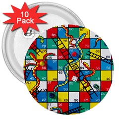 Snakes And Ladders 3  Buttons (10 Pack)