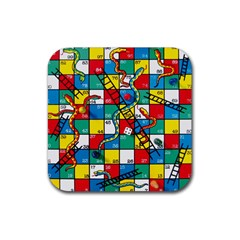 Snakes And Ladders Rubber Square Coaster (4 Pack)