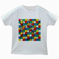 Snakes And Ladders Kids White T Shirts