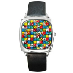 Snakes And Ladders Square Metal Watch