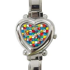 Snakes And Ladders Heart Italian Charm Watch