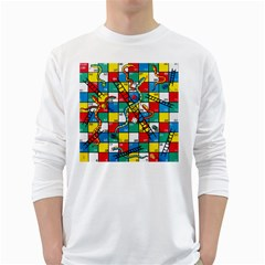 Snakes And Ladders White Long Sleeve T Shirts
